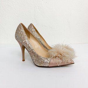 Kate Spade Lilo Marabou Glitter Satin Heels